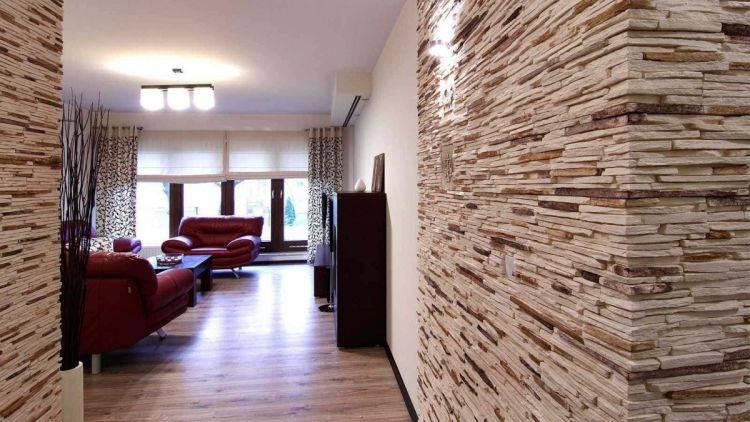 Декоративная штукатурка под камень: разновидности, эффект,  фото имитации кладки в интерьере, инструкция по отделке своими руками стен в помещении