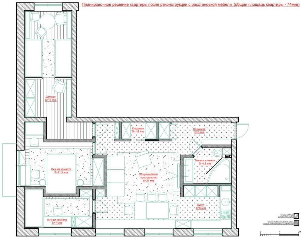 Дизайн квартиры 70 кв. м. [60+ фото] планировки 2,3,4-комнатных