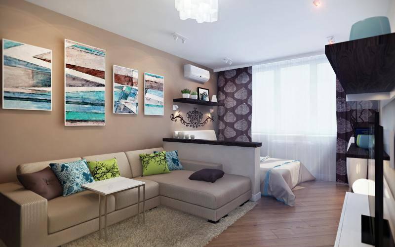 Варианты дизайна однокомнатной квартиры для семьи с ребёнком: зонирование и оформление