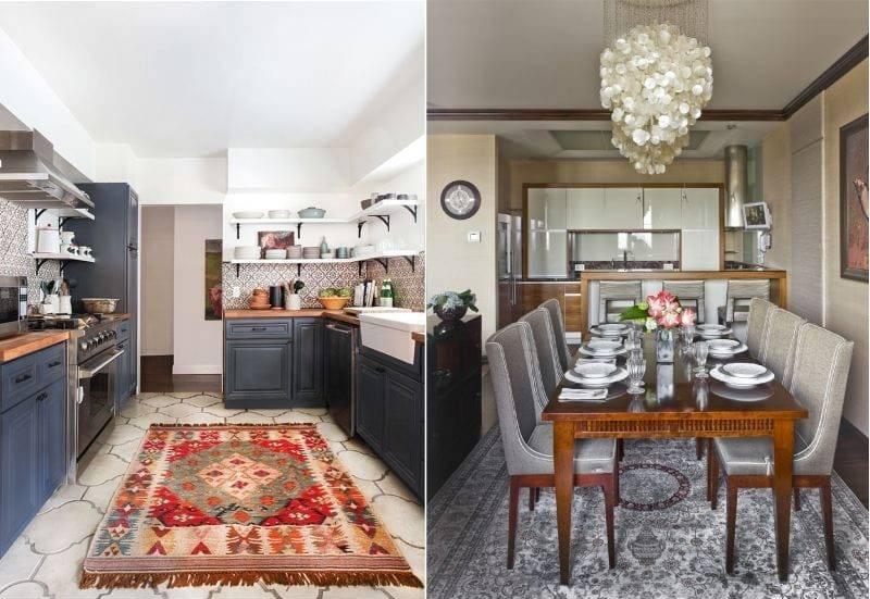 Ковер на кухне: как выбрать, варианты стилей, уход, советы, фото в интерьере