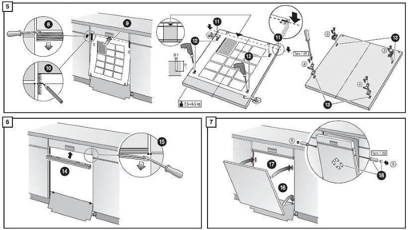 Как установить посудомоечную машину в готовую кухню: монтаж своими руками без вызова мастеров