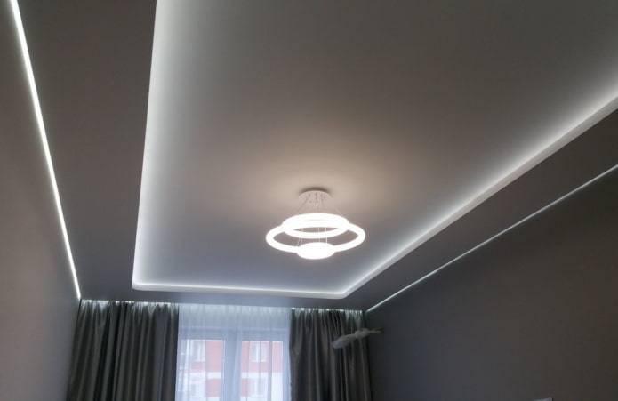 Парящий потолок: натяжной потолок с подсветкой, из гипсокартона, монтаж профиля парящего потолка по периметру, как делать летящий потолок