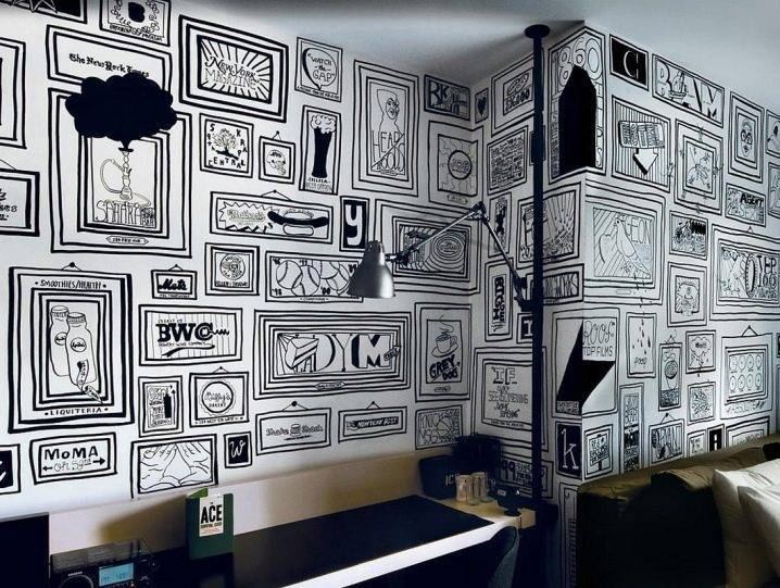 Обои в стиле «граффити»: дизайн интерьеров комнат в квартире с обоями в виде рисунков на стене