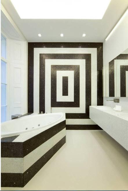 Черно-белые ванные комнаты: фото и секреты дизайна