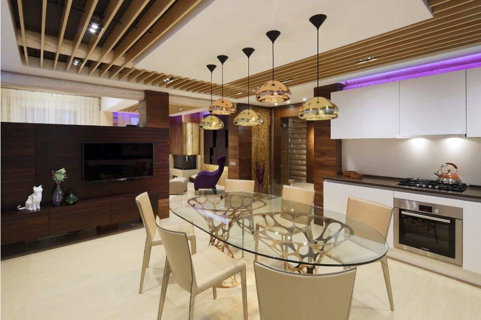Ламинат на потолок: цвет, варианты дизайна, фото в интерьере