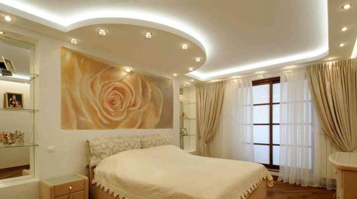 Идеи оформления потолков из гипсокартона в спальне