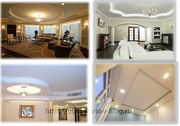 Красивый потолок из гипсокартона в зале + 80 фото дизайна