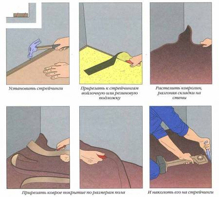 Как правильно стелить ковролин. способы и рекомендации