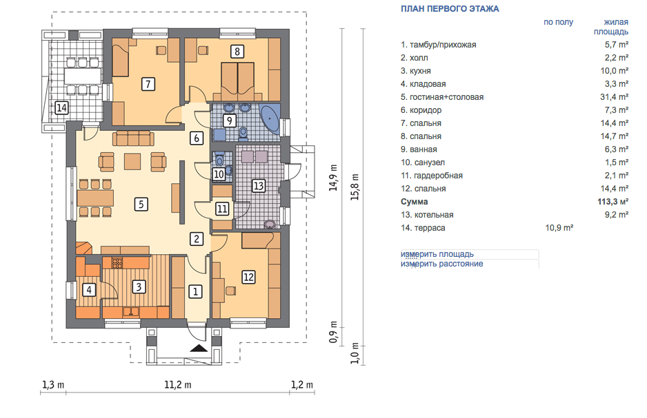 Проекты одноэтажных домов бесплатно: чертежи и фото | home-ideas.ru