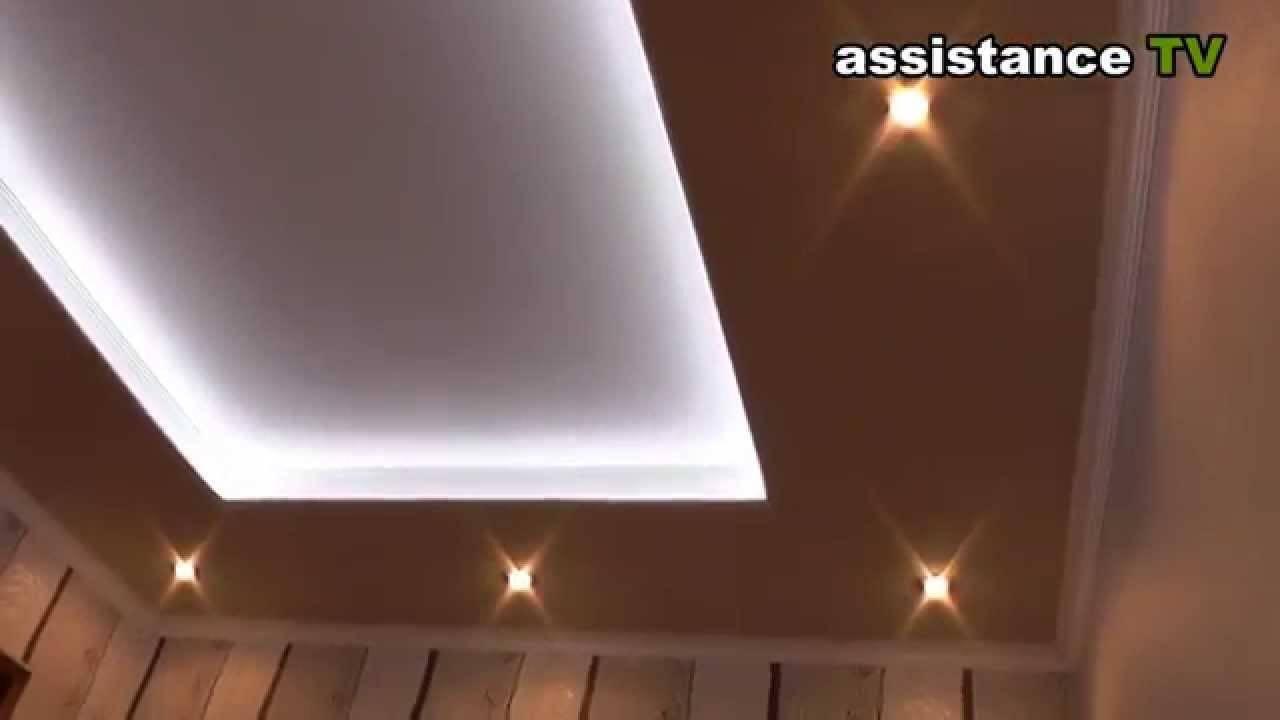Натяжной потолок с подсветкой: виды (по периметру, внутри), цвет, идеи для разных типов потолков