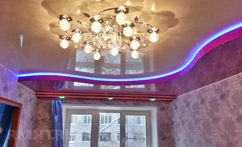 Подсветка натяжного потолка светодиодной лентой – виды, способы монтажа