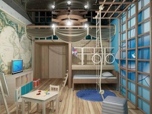 Детская комната в морском стиле: варианты оформления интерьера для мальчика и девочки