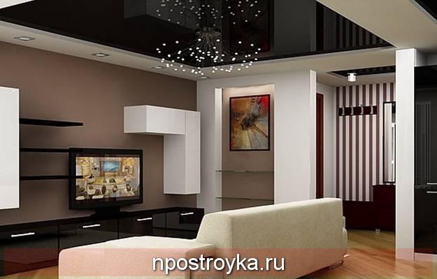 Черный натяжной потолок - применение в интерьере, фото