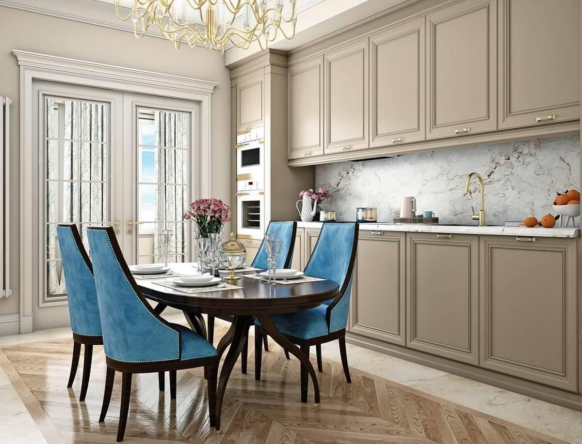 Неоклассика в интерьере кухни: реальные фото в квартире в белом цвете, дизайн данного стиля, угловая кухня совмещенная с гостиной