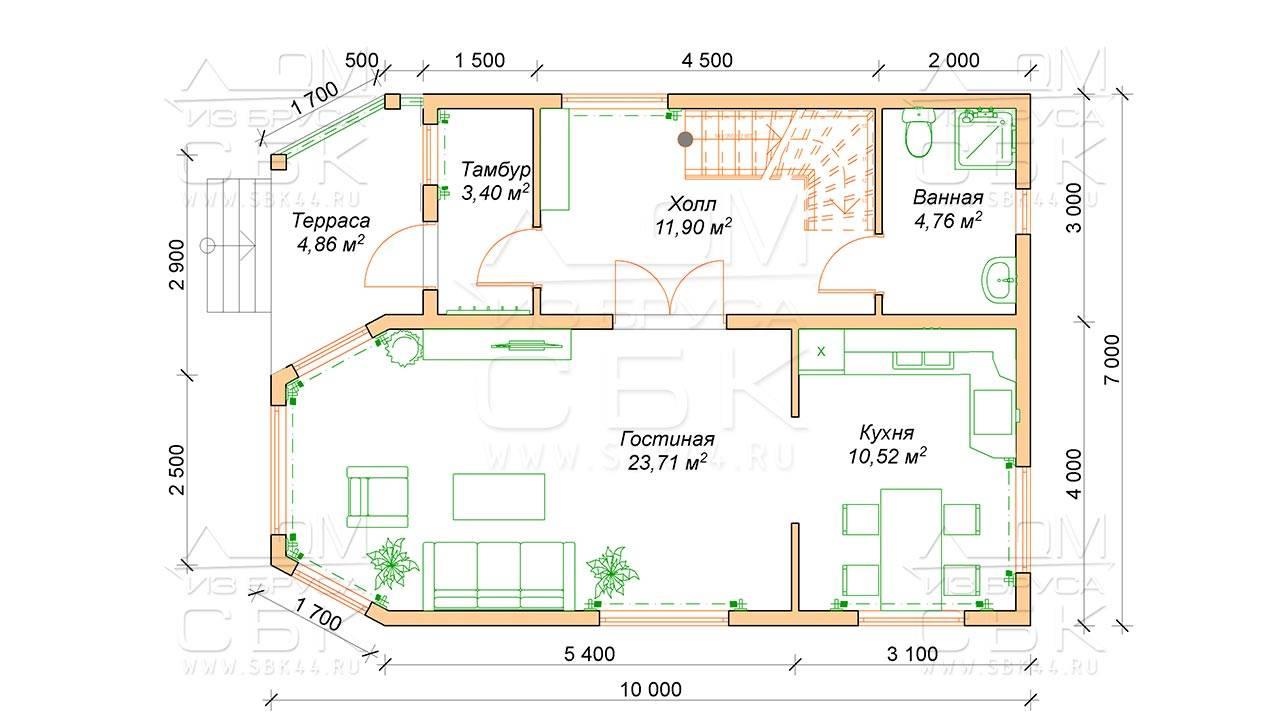 Дома из бруса с террасой: особенности планировки, этапы строительства, проекты, фото