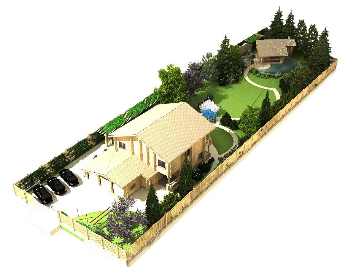 Модный ландшафтный дизайн прямоугольного участка