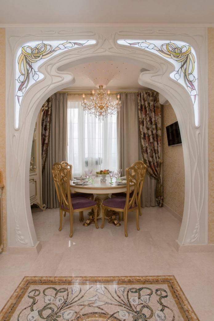 Декоративная отделка арок: обоями, деревом,плиткой, мозаикой, камнем