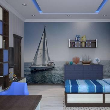 Интерьер и дизайн комнаты в морском стиле | советы по оформлению