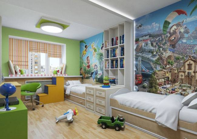 Детские комнаты для разнополых детей разного возраста
