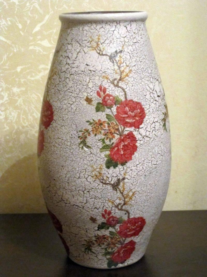 Декупаж вазы – мастер-класс для начинающих как сделать стильное украшение (инструкция + фото)