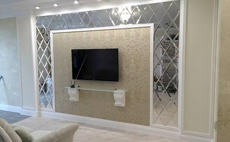 Фацетные зеркала многогранные и зеркальные панно в интерьере
