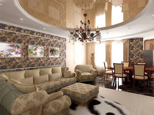 Натяжные потолки в гостиной: красиво и оригинально
