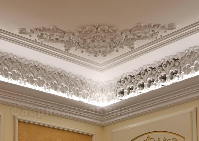 Лепнина из гипса, полистирола и полиуретана на потолок - фото, варианты дизайна