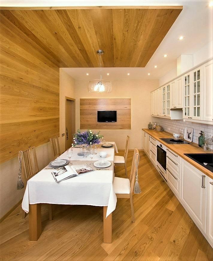 Ламинат на потолок: 60+ фото, современные идеи декора ламинатной доской