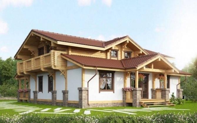 Разнообразные комбинированные дома из камня и дерева: проекты на выбор