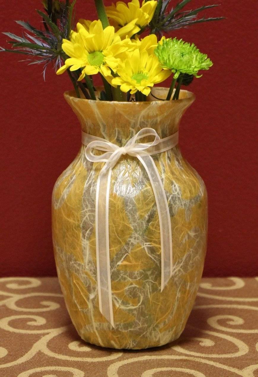 Декупаж вазы: 90 фото оформления разных видов старых ваз