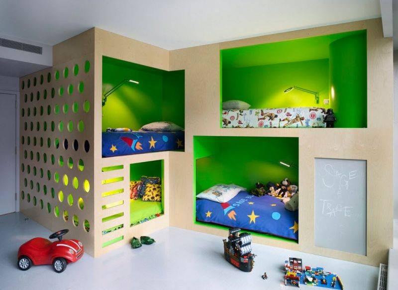Детская для троих детей — фото идеи интерьера уютной детской комнаты