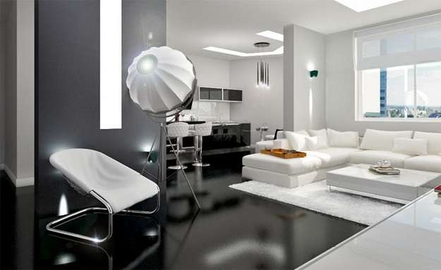 Дизайн интерьера современной кухни в стиле хай-тек: обои, стол