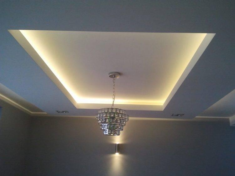 Дизайн гипсокартонного потолка в зале - фото примеров