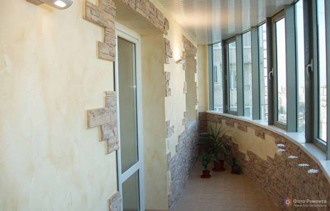 Применение декоративного камня в отделке балкона