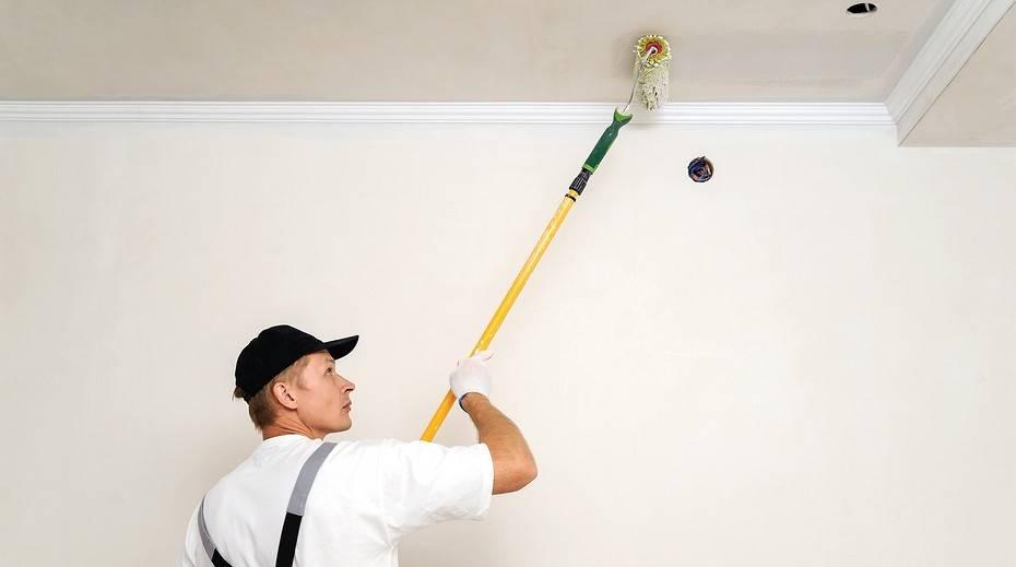 Акриловая краска для потолка: каким валиком красить и как правильно после побелки своими руками