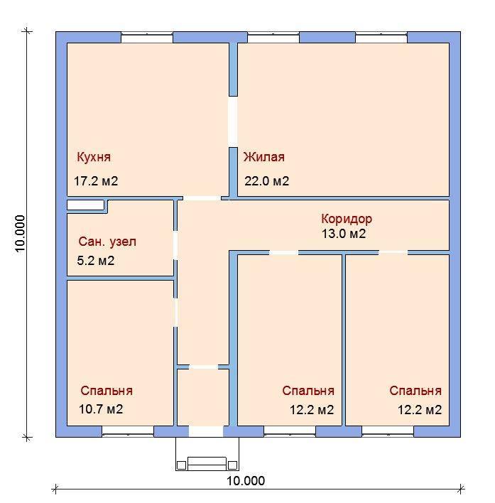Проект дома 10 на 10 одноэтажный, фото, схема