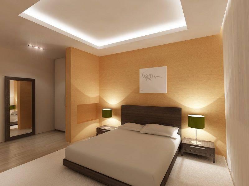 Потолок из гипсокартона в маленькой и узкой комнате 9 фото
