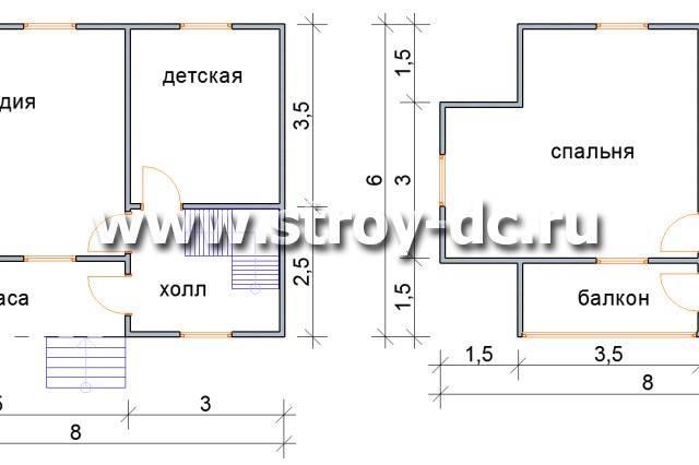 Каркасный дом 6х8 одноэтажный и двухэтажный, сколько стоит постройка, планировка и проект строительства