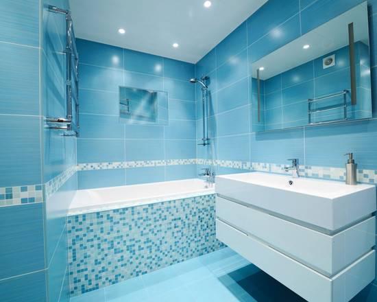 Интерьер голубой ванной - 116 фото примеров