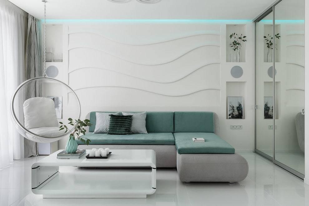 Сине белый интерьер гостиной, 42 фото