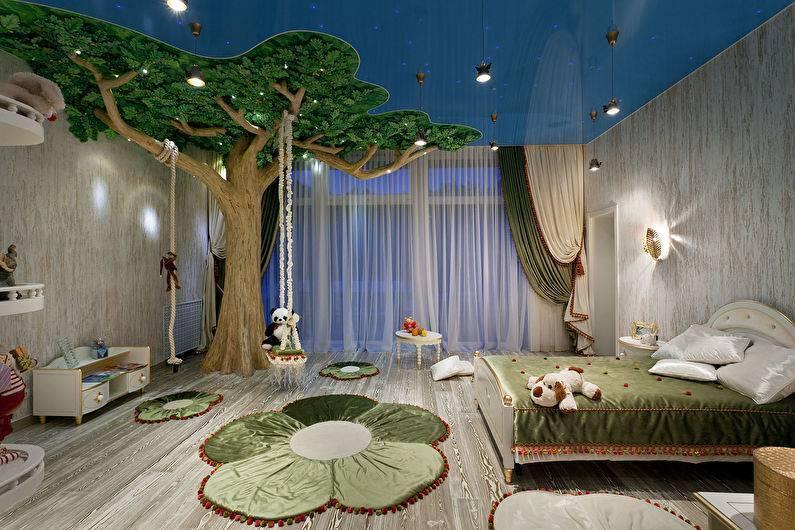Натяжные потолки в детскую: фото для девочки в комнату, дизайн для мальчика, двухуровневые с фотопечатью для подростка, вреден ли в спальне
