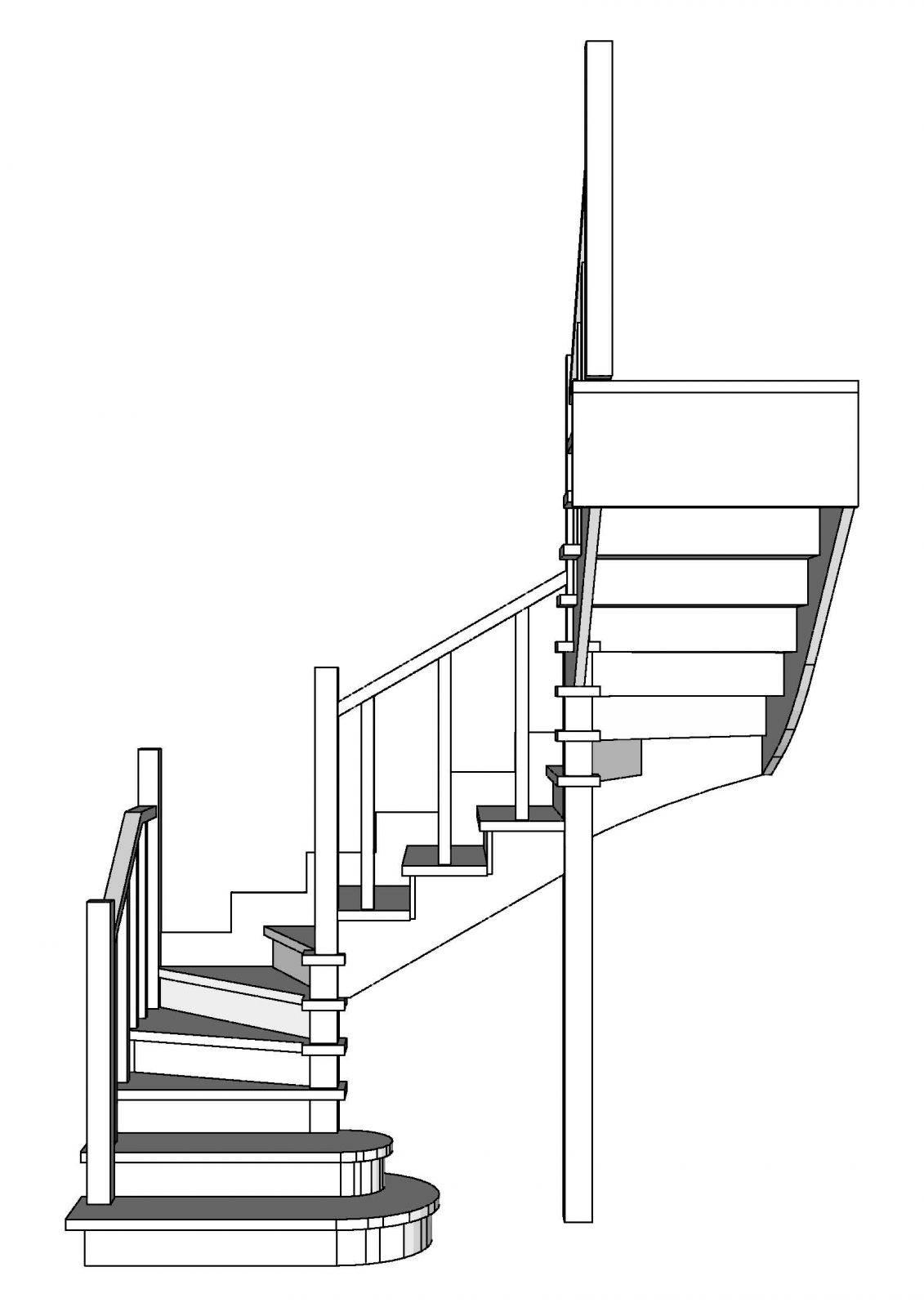Поворотная лестница с забежными ступенями своими руками, фото и видео
