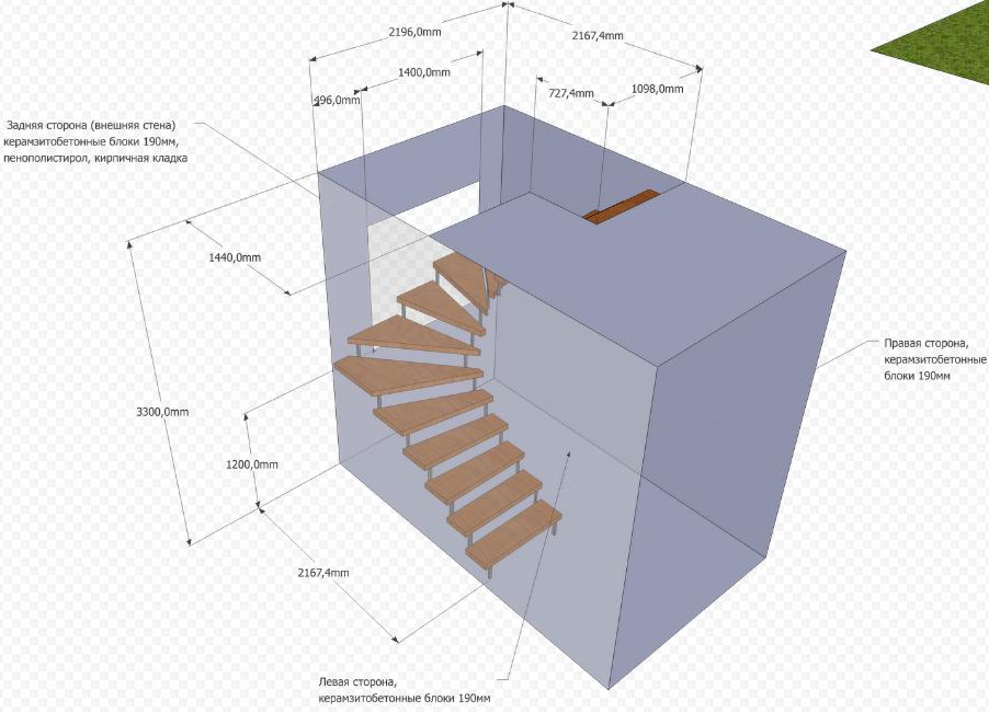 3d расчет лестницы с забежными ступенями 180 градусов