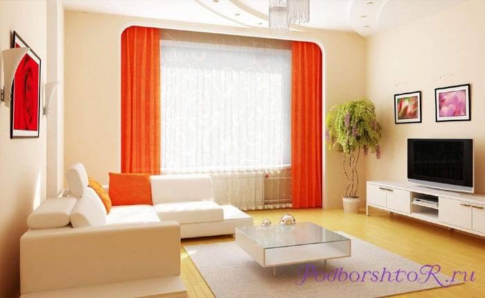 Выбираем шторы в бежевую гостиную