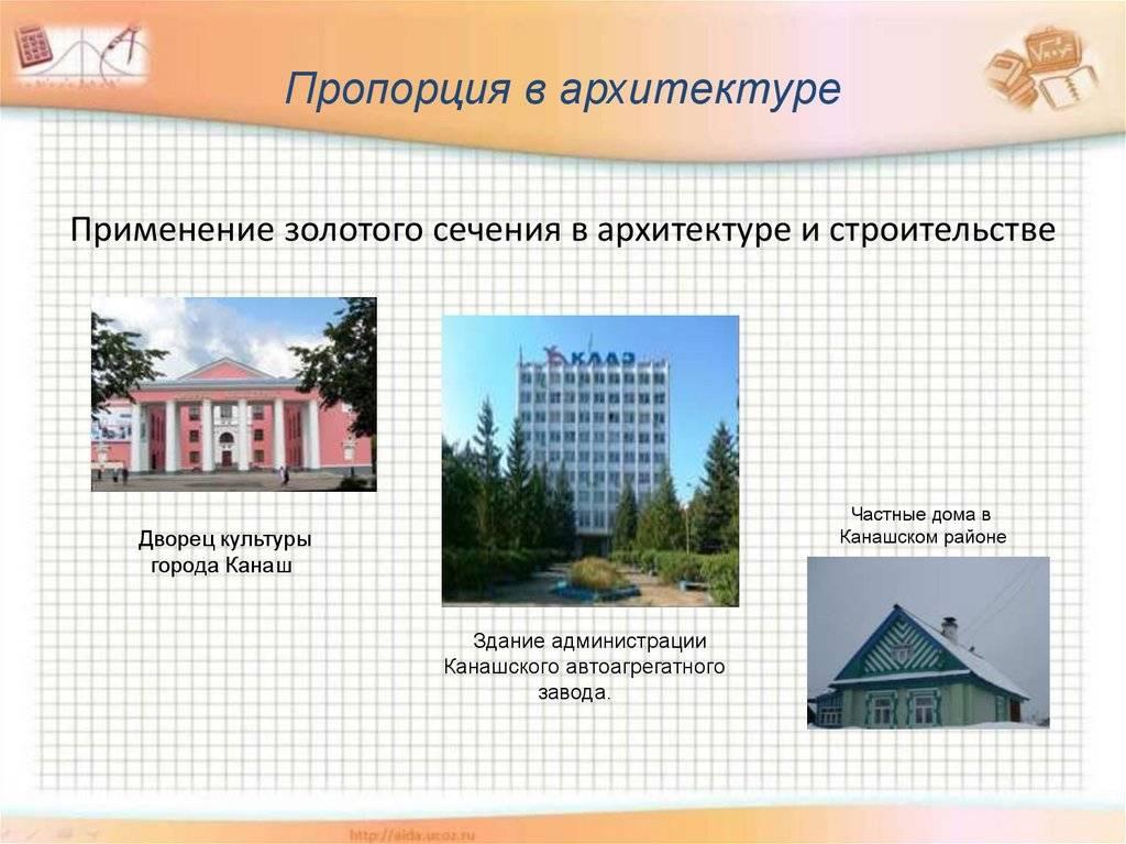 Примеры золотого сечения в архитектуре, его применение