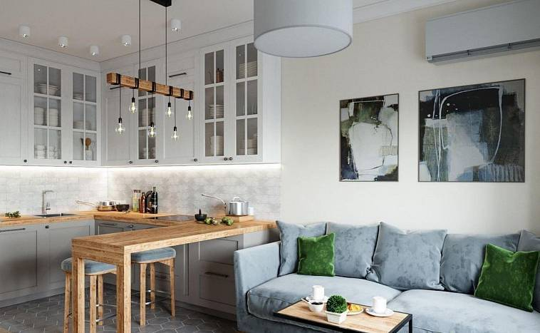 Как грамотно обустроить кухню-гостиную 20 кв. м: секреты зонирования и планировки