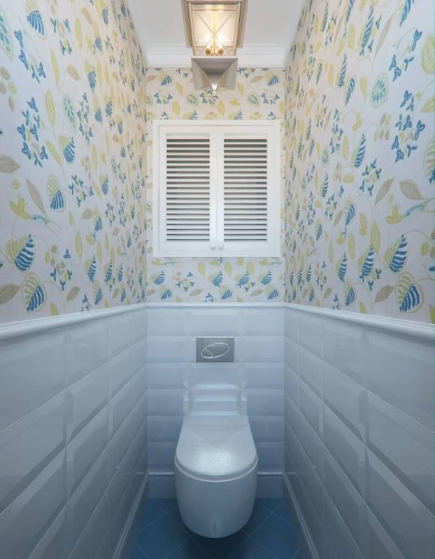 Гармоничный дизайн с помощью простых материалов: лучшие фото интерьеров туалета с обоями