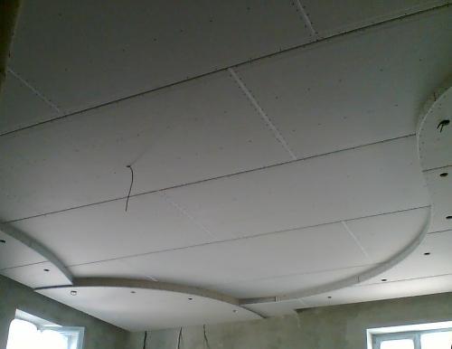 Как сделать двухуровневый потолок из гипсокартона своими руками - детальная инструкция, как продумать схему конструкции, фото +видео примеры