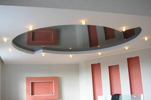 Дизайн натяжных потолков в гостиной — фото идей