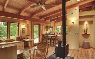 Кухня с большим окном в рабочей зоне в частном доме: интерьер с мойкой и столом под окном, дизайн углового гарнитура  - 31 фото